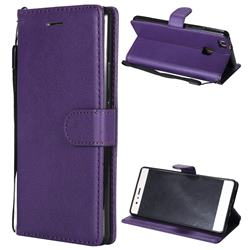 Retro Greek Classic Smooth PU Leather Wallet Phone Case for Huawei P9 Lite G9 Lite - Purple