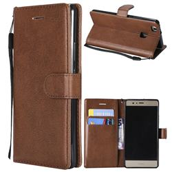 Retro Greek Classic Smooth PU Leather Wallet Phone Case for Huawei P9 Lite G9 Lite - Brown