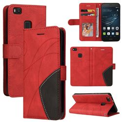 Luxury Two-color Stitching Leather Wallet Case Cover for Huawei P9 Lite G9 Lite - Red
