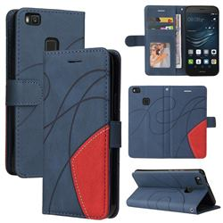 Luxury Two-color Stitching Leather Wallet Case Cover for Huawei P9 Lite G9 Lite - Blue