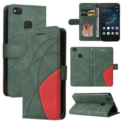 Luxury Two-color Stitching Leather Wallet Case Cover for Huawei P9 Lite G9 Lite - Green