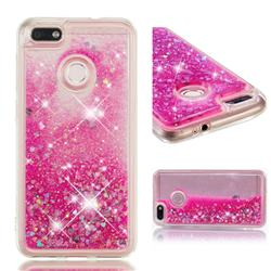 Dynamic Liquid Glitter Quicksand Sequins TPU Phone Case for Huawei P9 Lite Mini (Y6 Pro 2017) - Rose