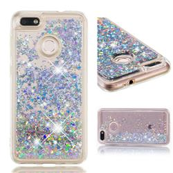 Dynamic Liquid Glitter Quicksand Sequins TPU Phone Case for Huawei P9 Lite Mini (Y6 Pro 2017) - Silver