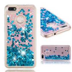 Dynamic Liquid Glitter Quicksand Sequins TPU Phone Case for Huawei P9 Lite Mini (Y6 Pro 2017) - Blue