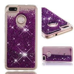 Dynamic Liquid Glitter Quicksand Sequins TPU Phone Case for Huawei P9 Lite Mini (Y6 Pro 2017) - Purple