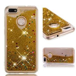 Dynamic Liquid Glitter Quicksand Sequins TPU Phone Case for Huawei P9 Lite Mini (Y6 Pro 2017) - Golden