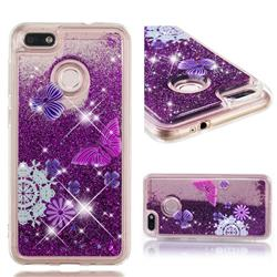 Purple Flower Butterfly Dynamic Liquid Glitter Quicksand Soft TPU Case for Huawei P9 Lite Mini (Y6 Pro 2017)