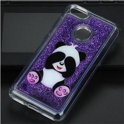 Naughty Panda Glassy Glitter Quicksand Dynamic Liquid Soft Phone Case for Huawei P9 Lite Mini (Y6 Pro 2017)