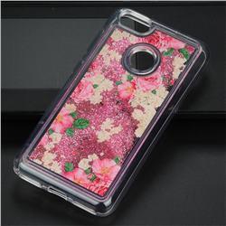 Rose Flower Glassy Glitter Quicksand Dynamic Liquid Soft Phone Case for Huawei P9 Lite Mini (Y6 Pro 2017)