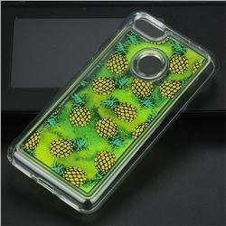 Pineapple Glassy Glitter Quicksand Dynamic Liquid Soft Phone Case for Huawei P9 Lite Mini (Y6 Pro 2017)