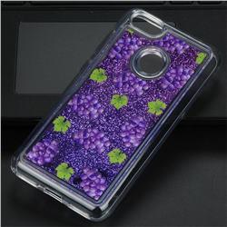Purple Grape Glassy Glitter Quicksand Dynamic Liquid Soft Phone Case for Huawei P9 Lite Mini (Y6 Pro 2017)