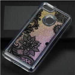 Diagonal Lace Glassy Glitter Quicksand Dynamic Liquid Soft Phone Case for Huawei P9 Lite Mini (Y6 Pro 2017)