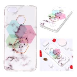 Hexagonal Soft TPU Marble Pattern Phone Case for Huawei P9 Lite Mini (Y6 Pro 2017)