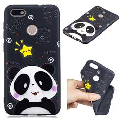 Cute Bear 3D Embossed Relief Black TPU Cell Phone Back Cover for Huawei P9 Lite Mini (Y6 Pro 2017)