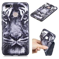White Tiger 3D Embossed Relief Black TPU Cell Phone Back Cover for Huawei P9 Lite Mini (Y6 Pro 2017)