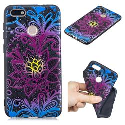 Colorful Lace 3D Embossed Relief Black TPU Cell Phone Back Cover for Huawei P9 Lite Mini (Y6 Pro 2017)