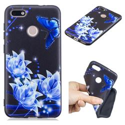 Blue Butterfly 3D Embossed Relief Black TPU Cell Phone Back Cover for Huawei P9 Lite Mini (Y6 Pro 2017)