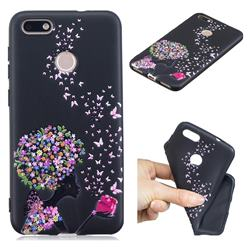 Corolla Girl 3D Embossed Relief Black TPU Cell Phone Back Cover for Huawei P9 Lite Mini (Y6 Pro 2017)