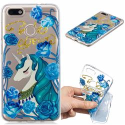 Blue Flower Unicorn Clear Varnish Soft Phone Back Cover for Huawei P9 Lite Mini (Y6 Pro 2017)