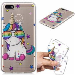 Glasses Unicorn Clear Varnish Soft Phone Back Cover for Huawei P9 Lite Mini (Y6 Pro 2017)