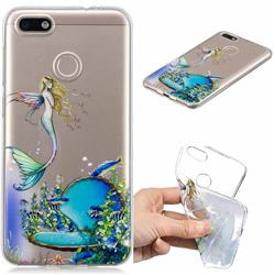 Mermaid Clear Varnish Soft Phone Back Cover for Huawei P9 Lite Mini (Y6 Pro 2017)