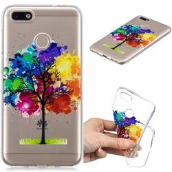 Oil Painting Tree Clear Varnish Soft Phone Back Cover for Huawei P9 Lite Mini (Y6 Pro 2017)