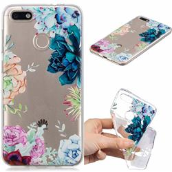 Gem Flower Clear Varnish Soft Phone Back Cover for Huawei P9 Lite Mini (Y6 Pro 2017)