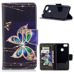Golden Shining Butterfly Leather Wallet Case for Huawei P9 Lite Mini (Y6 Pro 2017)