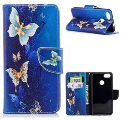 Golden Butterflies Leather Wallet Case for Huawei P9 Lite Mini (Y6 Pro 2017)