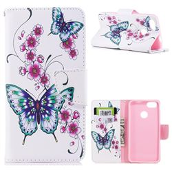 Peach Butterflies Leather Wallet Case for Huawei P9 Lite Mini (Y6 Pro 2017)