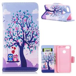Tree and Owls Leather Wallet Case for Huawei P9 Lite Mini (Y6 Pro 2017)