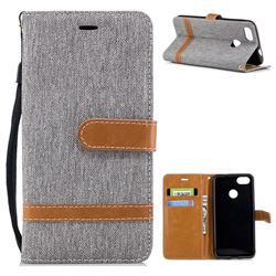 Jeans Cowboy Denim Leather Wallet Case for Huawei P9 Lite Mini (Y6 Pro 2017) - Gray