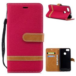Jeans Cowboy Denim Leather Wallet Case for Huawei P9 Lite Mini (Y6 Pro 2017) - Red