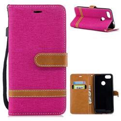 Jeans Cowboy Denim Leather Wallet Case for Huawei P9 Lite Mini (Y6 Pro 2017) - Rose