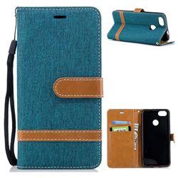 Jeans Cowboy Denim Leather Wallet Case for Huawei P9 Lite Mini (Y6 Pro 2017) - Green
