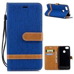 Jeans Cowboy Denim Leather Wallet Case for Huawei P9 Lite Mini (Y6 Pro 2017) - Sapphire