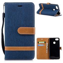 Jeans Cowboy Denim Leather Wallet Case for Huawei P9 Lite Mini (Y6 Pro 2017) - Dark Blue