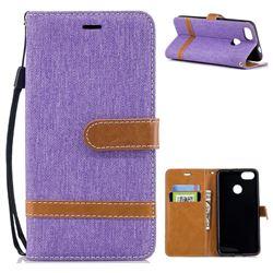 Jeans Cowboy Denim Leather Wallet Case for Huawei P9 Lite Mini (Y6 Pro 2017) - Purple