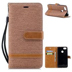 Jeans Cowboy Denim Leather Wallet Case for Huawei P9 Lite Mini (Y6 Pro 2017) - Brown