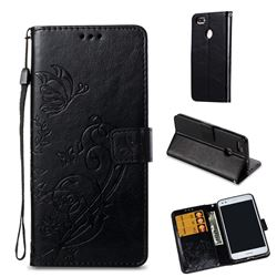 Embossing Butterfly Flower Leather Wallet Case for Huawei P9 Lite Mini (Y6 Pro 2017) - Black