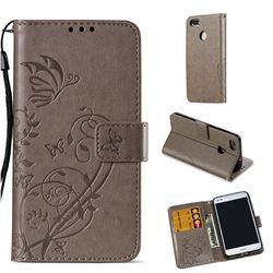 Embossing Butterfly Flower Leather Wallet Case for Huawei P9 Lite Mini (Y6 Pro 2017) - Grey