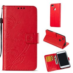 Embossing Butterfly Flower Leather Wallet Case for Huawei P9 Lite Mini (Y6 Pro 2017) - Red