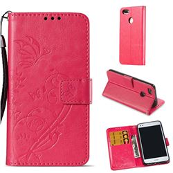 Embossing Butterfly Flower Leather Wallet Case for Huawei P9 Lite Mini (Y6 Pro 2017) - Rose