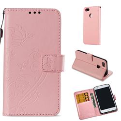 Embossing Butterfly Flower Leather Wallet Case for Huawei P9 Lite Mini (Y6 Pro 2017) - Pink