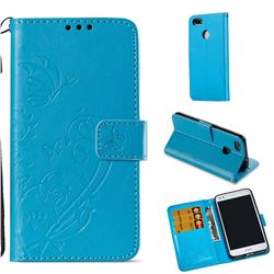 Embossing Butterfly Flower Leather Wallet Case for Huawei P9 Lite Mini (Y6 Pro 2017) - Blue