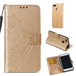 Embossing Butterfly Flower Leather Wallet Case for Huawei P9 Lite Mini (Y6 Pro 2017) - Champagne