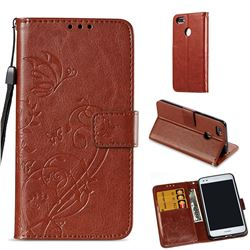 Embossing Butterfly Flower Leather Wallet Case for Huawei P9 Lite Mini (Y6 Pro 2017) - Brown
