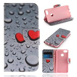 Heart Raindrop PU Leather Wallet Case for Huawei P9 Lite Mini (Y6 Pro 2017)