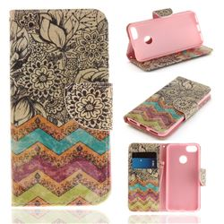Wave Flower PU Leather Wallet Case for Huawei P9 Lite Mini (Y6 Pro 2017)