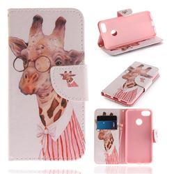 Pink Giraffe PU Leather Wallet Case for Huawei P9 Lite Mini (Y6 Pro 2017)